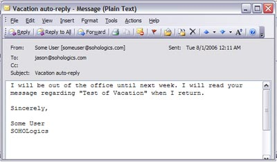 Setup an Out Of Office Notification For Your SOHO.Mail | SOHOLogics