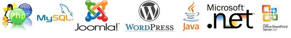PHP, MySQL, Joomla, WordPress, Java, Microsoft .Net, and SharePoint